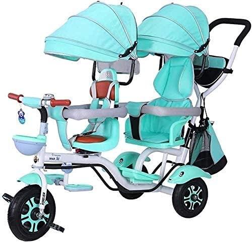 4 en 1 triciclo, doble triciclo para niños, caminatas gemelas Confort de dos asientos, bicicleta de 3 ruedas para niños con asiento giratorio, bebé infantil niño carrito de 6 meses a 6 años