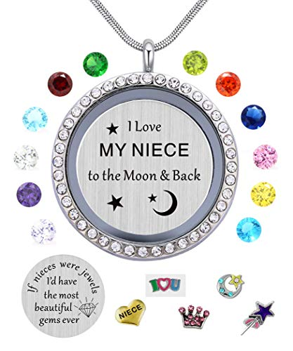 I Love My Niece to the Moon & Back Pendant Necklace,White Gold Plated, Floating Charms Locket for Girls & Teen Girls, Gift from Aunt