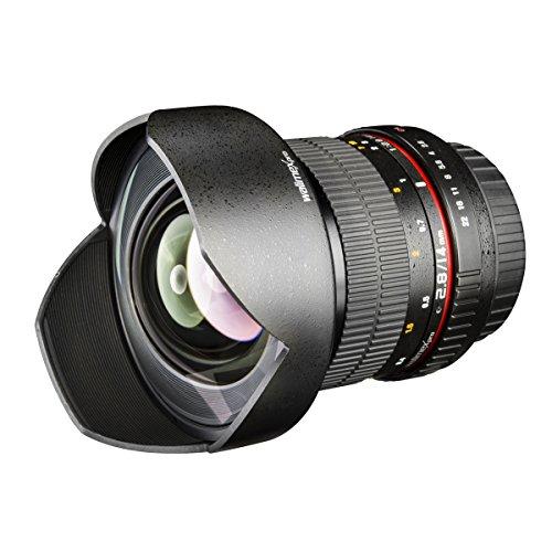 Walimex Pro 14 mm f1:2,8 Festbrennweite manueller Fokus Weitwinkelobjektiv für Sony E Mount, Kamera Objektiv lichtstark für Systemkamera für A5000 A5100 A6000 A6300 A6500 Serie, Nex, schwarz