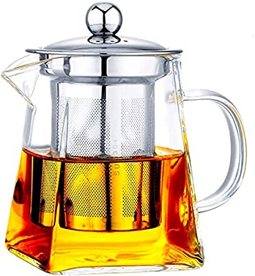 with Infuser Clear Glass Teapot,Tea Pot with Tea Strainers,Borosilicate Glass Teapot with Infusers for Loose TeaHeat Resistant Loose Leaf Teapot,Stovetop Dishwasher Safe (450ML/16OZ)