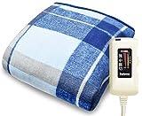 電気ひざかけ ブランケット hapiket 毛布 大判 140×80cm 日本製 洗える 水洗い 丸洗い ダニ撃退 ブルー