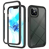 JZ 360 Degrees Front And Back Transparent Phone Custodia Compatible with iPhone 12 PRO Max Full-Body Bumper Custodia - Black