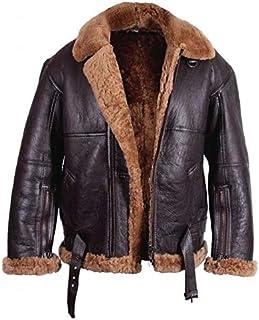 Brandslock Mens Aviator Flying B3 Real Shearling Sheepskin Leather Bomber Jacket