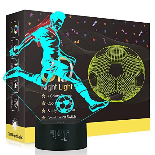 Fußball 3D Lampe,Besrina LED Nachtlicht Illusion Lampen 7 Farben ändern Berührungssteuerung USB Optische schreibtischlampe, Nachttischlampen für Kinder Weihnachten Geburtstag Beste Geschenk Spielzeug