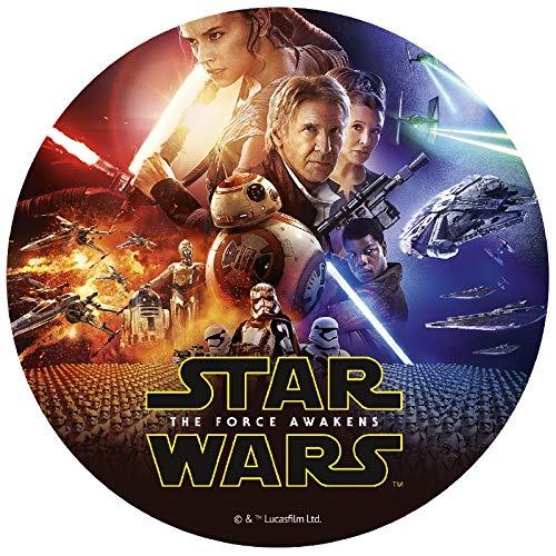 Dekora - Decoracion Tartas de Cumpleaños Infantiles en Disco Comestible de Star Wars El Despertar de la Fuerza - 20 Cm de Diámetro