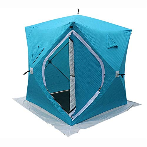 Tent for warm winter fishing tent winter fishing with single nail and bag for icy wind igloo warm tent suitable for camping (color: blue size: 180x180x210 cm)