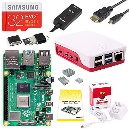 CanaKit Raspberry Pi 4 Starter Kit (32GB EVO+ Edition, Official Case) - 1GB RAM