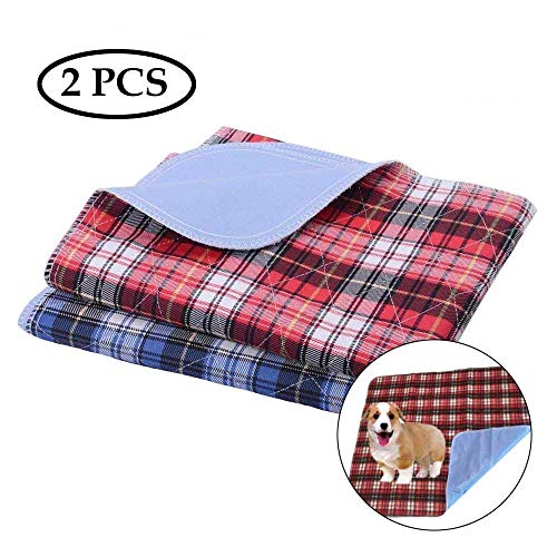 ASOCEA 2 Stück waschbare Hunde-Pee Pads wiederverwendbar Sofa Bett Autositz Schutzmatte wasserdicht für Haustier Katze Welpen Töpfchentraining Pads rot blau kariert