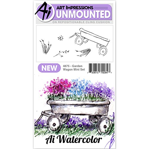 Art Impressions Watercolor Cling Rubber Stamp Mini Garden Wagon