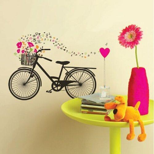 Sterven snitten met View fiets met mand Flower PS muurkunst, Fiets met bloemen in de mand.
