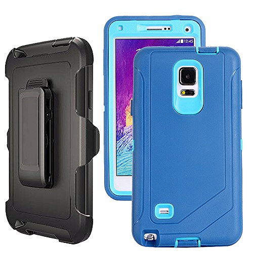 Galaxy Note 4 Case Heavy Duty,Harsel Defender Shockproof Bumper Dustproof Dropproof 3 Layer Rugged Protective Shell Case w/ Built-in Screen Protector & Belt-clip for Samsung Galaxy Note 4 (Skyblue)