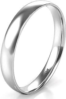 10K White/Yellow/Rose Gold 3MM Plain Dome Wedding Band Ring