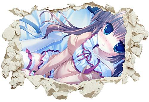 Unified Distribution Anime & Manga - Süßes Mädchen - Wandtattoo mit 3D Effekt, Aufkleber für Wände und Türen Größe: 92x61 cm, Stil: Durchbruch