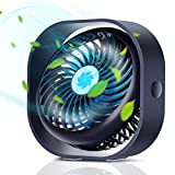 OPELEMIN Small Personal Desk Fan, Portable Desktop Table Cooling Fan 2000mAh Rechargeable Battery Powered by USB, Low Noise Operation, for Home Office Library Outdoor Camping