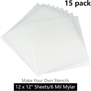 JINSEY Make Your Own Stencil - 15 Pack 6 Mil 12 x 12 inch Blank Stencil Sheets - Ideal for Use with Silhouette Machines(Mylar Material)