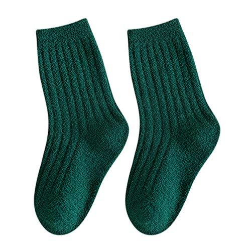 YWLINK Calcetines Esponjosos,Calcetines EláSticos Suaves De PatróN Lindo De Navidad Calcetines De Felpa CáLidos Calcetines Nvierno Color Liso AlgodóN Calcetines Calcetines De Suelo (Verde, L)