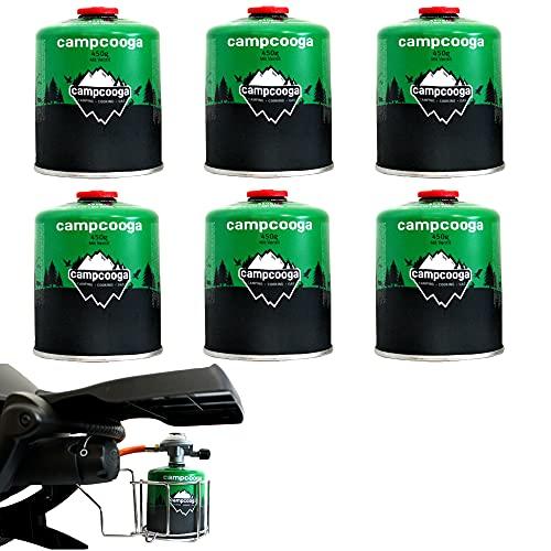 450g Gaskartusche mit Gewinde Schraubkartusche mit Ventil EN417 für Gasgrill Tischgrill Gaskocher Campingkocher (6X 450g Gaskartusche)