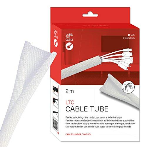 Label-the-cable Kabelschlauch / Kabelschutz / Kabelkanal: Gewebter Kabelmantel, Selbstschließend, zuschneidbar ohne Ausfransen, sehr Flexibel und robust, LTC CABLE TUBE, 2 m, Weiß, LTC 5120