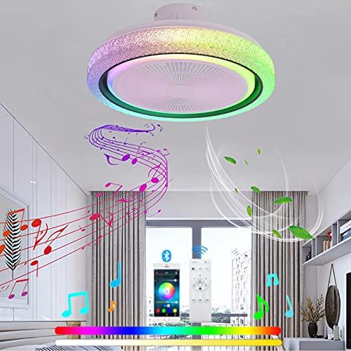 VOMI Regulable Lámpara de Techo con Mando a Distancia Ventilador de Techo con Luz Dormitorio RGB Música Lámpara de Ventilador y Bluetooth Altavoz Moderno Silencioso Ventilador para Salón