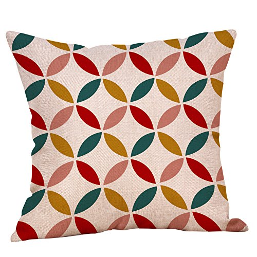 Sonojie Geometric Linen Cushion Cover Hug Pillow Case Square Decoration Set, Sofa Chair Office Home Accessories Living Room Bedroom Indoor and Outdoor Cushion Cover-Invisible Zipper Series