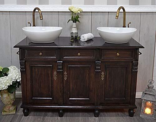 Land & Liebe Badmöbel GmbH Vintage Doppelwaschtisch Névron Rustikaler Badunterschrank inkl. Waschbecken H79xB125xT45