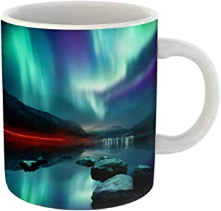 Emvency Coffee Tea Mug Gift 11 Ounces Funny Ceramic Large Northern Lights Aurora Borealis Display Glowing Over Mountain Pass Gifts For Family Friends Coworkers Boss Mug
