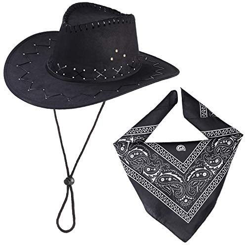Beefunny Cowboy Hut und Paisley Bandana Wild Western Kostüm Zubehör Set Gr. 85, Schwarz