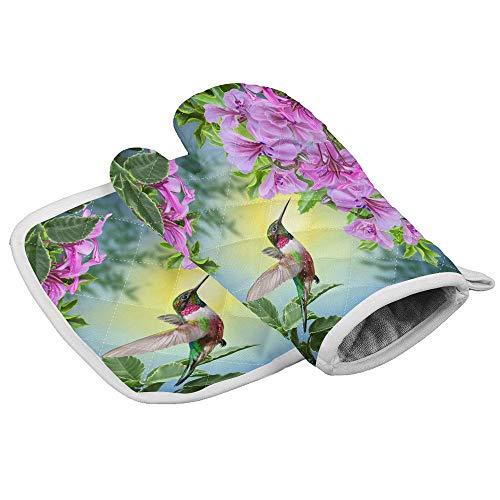 Wfispiy Set Ofenhandschuh und Topflappen Kolibri-Handschuhe Ofenhandschuhe und Topflappen Kochhandschuhe zum Kochen Backen Grillen Rosa Blumen