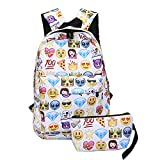 Backpack for kids: Waterproof light weight School Backpack with pencil bag for boys and girls Size: H(15') x W(11') x Side(4') (Emoji)