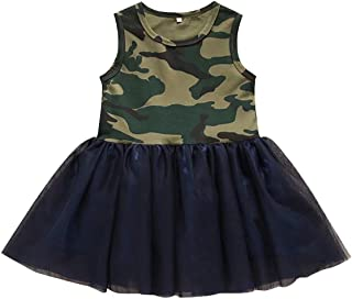 Toddler Baby Girls Camouflage Print Sleeveless Solid Color Princess Camo Lace Patchwork Tutu Tulle Dress