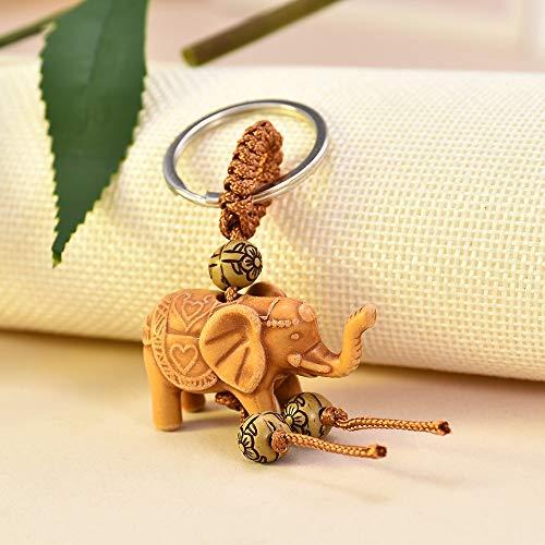 ZMKW Wooden Elephant Carving Keychain Religion Pendant Key Ring