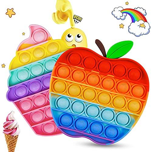 Pòp ǐt Set, Fidget Toys, 2 Stücke Push Pǒp Bùbblé Sensory Spielzeug, Anti Stress Spielzeug für Erwachsene und Kinder, Rainbow Squeeze-Spielzeug-Set Geeignet für Autismus, ADHS-Patienten...