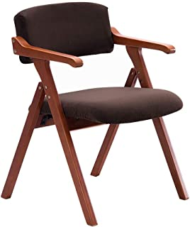 HLYT-Barstools Chairs Folding Chair Solid Wood Dining Chair Armchair Home Restaurant Desk Balcony Chair Meeting Leisure Chair/Brown Leather/Maximum Load 200KG