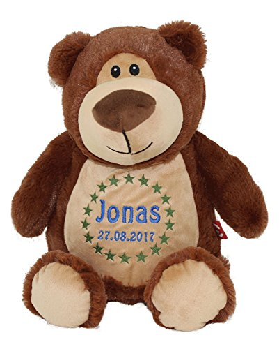 Stofftier Teddybär braun personalisiert mit Namen für Geburt Taufe Geburtstag 40cm