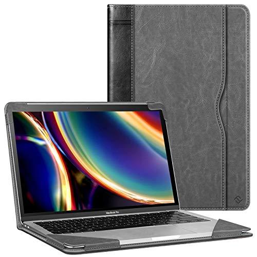 Fintie Funda para MacBook Air 13 (2020-2018), Compatible con MacBook Pro 13 (2020-2016), Estilo de Libro Carcasa Protectora de Cuero Sintético con Bolsillo, Negro
