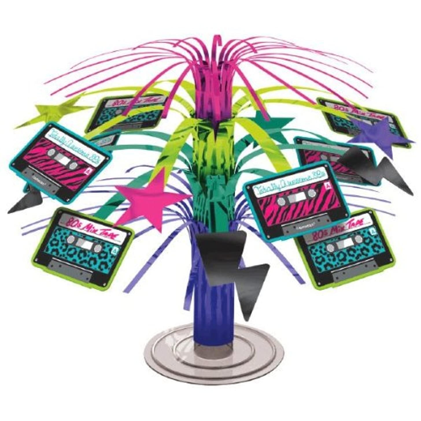 Amscan Totally 80's Party Cassette Mini Cascade Centerpiece Decoration (1 Piece), Multi Color, 7.5 in