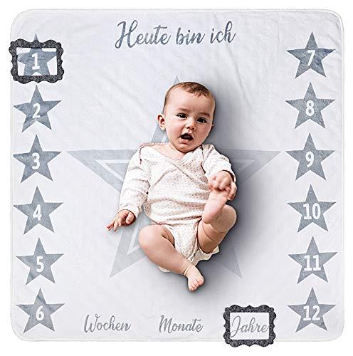 2 Seitige graue Baby Meilenstein Wende Decke mit Sternen, Öko Tex Zertifikat, Geschenk zur Geburt