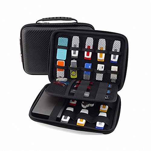 [USB Flash Drive Case / Hard Drive Case] - GUANHE Universial Portable Waterproof Shockproof Electronic Accessories Organizer Holder / USB Flash Drive Case Bag / Hard Drive Case Bag - Black