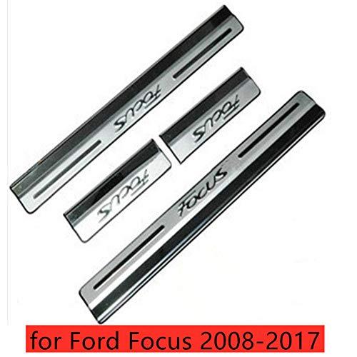 GLFDYC 4Pcs Edelstahl Türschweller Einstiegsleisten Zierleisten, für Ford Focus 2008-2017 Door Sill Pedal Schützen, Leisten Schutz Aufkleber Schutzhülle Schwelle Abdeckung