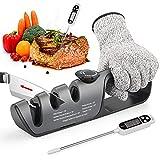 Afilador de cuchillos, afilador de cuchillos profesional, afilador multifunción 3 en 1, afilador con termómetro digital para carne, guantes protectores, combinación perfecta para cocina, barbacoa