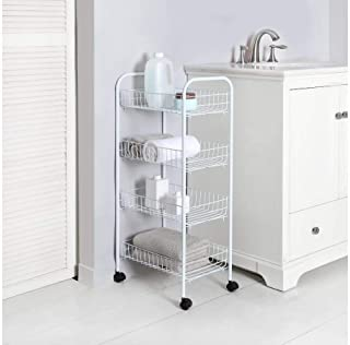 Mainstay Rolling Storage 4-Tier Wire Cart, White