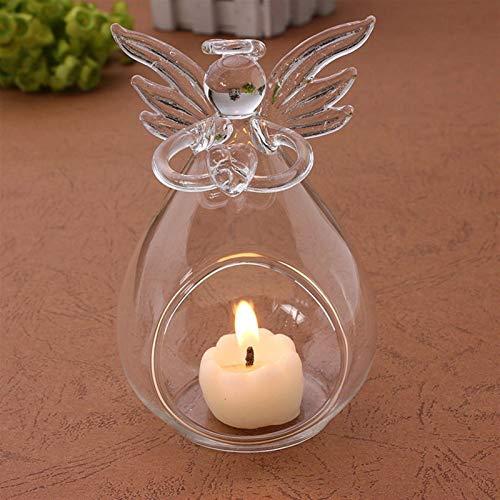 FHJSK DIY Home Body Party Decoración romántico ángel Cristal Vidrio Vela Porta té luz Linterna candelero Quemador Porta Vela (Color : Clear)