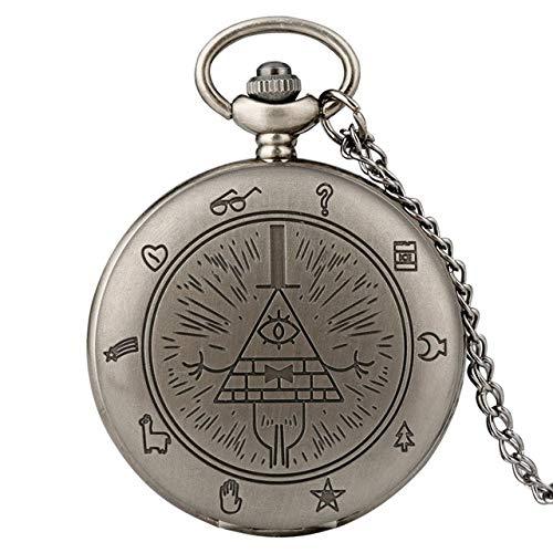 NOBRAND Reloj de Bolsillo, Collar de Piedras Preciosas Reloj de Bolsillo de Cuarzo triángulo extraño Pueblo triángulo de un Ojo Cadena Colgante Hombres y Mujeres, Plata Retro