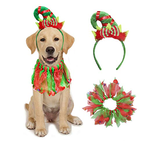 BWOGUE Dog Christmas Costume Dog Christmas Collar with Bells and Elf Headband Pet Costume Suit for Small Medium Dogs