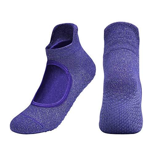 CGBH Dropshipping Mujeres Yoga calcetines sin respaldo antideslizante agarre del tobillo calcetines de ballet puntos Pilates Fitness Gym señoras calcetines de los deportes de danza ( Color : Púrpura )