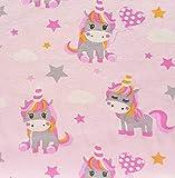 Stoff Baumwolle Jersey Meterware rosa Einhorn pink Sterne