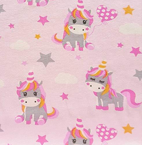 Stoff Baumwolle Jersey Meterware rosa Einhorn pink Sterne überbreit Kleiderstoff für Mädchen