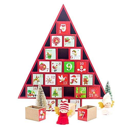 Cuenta atrás Calendario de Adviento de Madera Pintado Calendario Elk árbol de Navidad Calendario de Almacenamiento Caja de Regalo de los Ornamentos de Navidad (Color : Rojo)