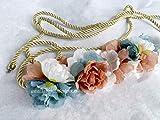 Cinturón de flores azul y beige