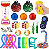 MIBOTE 30 Pack Fidget Toys Set, Sensory Toys Bundle for Kids/Adults Stress Relief and Anti-Anxiety Hand Toys , Liquid Motion Timer, Fidget Pad, Snake Cube, Puzzle Balls, Cube